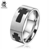 Wholesale Ring Cross Black - New Fashion 8mm Width Black Cross Ring Lover's 316L Stainless Steel Party Events Ring for Men Women GTR03