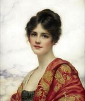 weibliche figur ölgemälde großhandel-Schönheit der jungen Dame des weiblichen Porträts, reine handgemalte Abbildung Kunst-Ölgemälde auf Segeltuch, in irgendeiner Größe besonders angefertigt