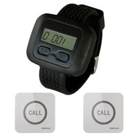 Wholesale Calling Bell - SINGCALL Wireless Service Calling Pager System, 1 Watch Receiver with 2 Touchable Bells,waterproof function