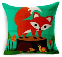 Belleza roja en la madera linda Fox verde Animal Art Painting Warm Pillow War Case Cover Massager decorativos almohadas regalo de decoración del hogar