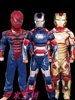 Wholesale Boys Clothing Occasion - Halloween children Spider-Man Iron Man Muscle models Performing costumes cosplay sets kids boy girl Special Occasions Avengers clothes suit
