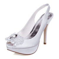 Wholesale Stilettos Shoes China - Stiletto Heel Ivory Wedding Dress shoe high heel upper shoes party evening shoes bridal wedding shoes with bow Size 40 made in China