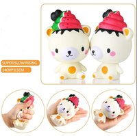 Wholesale Ice Straps - Cute 13cm Jumbo Slow Rising Squishy Phone Straps Ice Cream Bear Cartoon Pendant Cream Scented Bread Kids Fun Toy Gift Free Shipping
