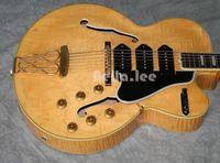 Wholesale semi hollow body jazz guitars online - Custom China made flame maple finish Jumbo semi hollow body jazz guitar control knobs electric guitar