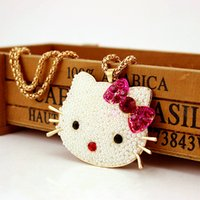 Wholesale Diamond Kitty Necklace - Hello Kitty Pendant Necklaces For Women Top Quality Brand Design Pop Animal Charm Chains Full Diamond Jewelries Fashion Gifts Accessories