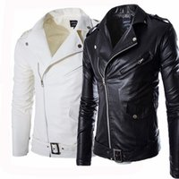 Wholesale Suede Jacket Fur Collar - Fall-2016 fashion stand collar motorcycle leather clothing men's leather jacket male outerwear White Leather & Suede M-XXXL