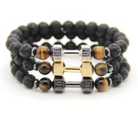 Wholesale Wholesale Fitness Charms - 2016 New Arrival Jewelry Wholesale Platinum Fitness Fashion Fit And Life Dumbbell Bracelets, Mens Party and Christmas Gift