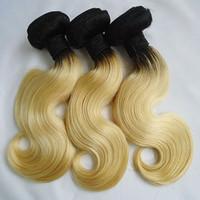 Wholesale virgin hair bundles 613 ombre resale online - Ombre Brazilian Body Wave Human Hair Weft T1b Dark Root Blonde Virgin Remy Hair Weaves or Bundles Double Extensions