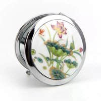 Wholesale Mirrors Chinese Wholesale - Free shipping Good looking Chinese art mirror ceramic and metal compact portable cosmetic makeup Retro round mirror