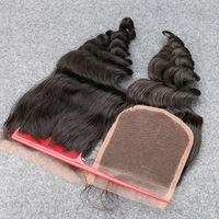 gevşek dalga saç üstü kapatma toptan satış-Ücretsiz Kargo Gevşek Dalga 4''x4 '' Üst Kapatma Hafif Ağartılmış Knots Üst Sınıf Brezilyalı Bakire Saç Dantel Kapatma