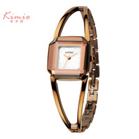 Wholesale Square Watch Ladies - 2016 Hot Sale KIMIO Luxury Women's Quartz Watches Waterproof Stainless Steel Hollow Square Bracelet Ladies Watches montre femme