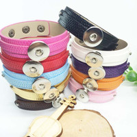 Wholesale 18mm Ring Width - Mixed Sale NO.2 10pcs lot Snap Button Jewelry PU Leather Snap Button Bracelets Fit 18mm Snap Buttons Jewelry(20cm long)(width:18mm+8mm)