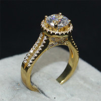 Wholesale 2ct Diamond Band - Luxury Jewelry Real 100% 925 Sterling silver & 18K gold Wedding Bands Ring For Women Pave 5A Zirconia 6*6MM 2CT Gemstone diamond ring finger
