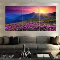 ingrosso foto calda moderna-2016 New Hot 3 Units (Senza cornice) Sunset And Mountain Wall Modern Home Decor Foto HD Stampa su tela Pittura su tela Opere d'arte