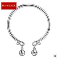 sinos de prata redondos venda por atacado-S925 sterling silver pulseira de abertura de jóias sino rodada pulseira de prata brilhante melhor presente confortável de usar cerca de 12g