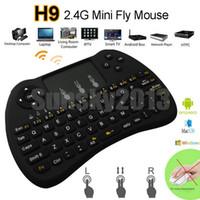 fly box tv al por mayor-H9 2.4GHz Fly Air Mouse inalámbrico Mini teclado QWERTY con pantalla táctil Android TV Box Control remoto 360 Xbox Gamepad Controllerl para IPTV