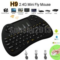 Wholesale Touch Pad Fly Air Mouse - H9 2.4GHz Fly Air Mouse Wireless Mini QWERTY Keyboard with Touch Pad Android TV Box Remote Control 360 Xbox Gamepad Controllerl for IPTV