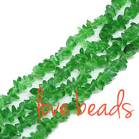 Wholesale Pink Gravel - Irregular Gravel Beads Fashion wholesale DIY Beads Green Glass Material Chips Loose Beads 33'' Strand (F00283) wholesale