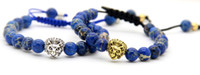 Atacado Presentes de Natal 8 milímetros Blue Sea Sediment Imperial Stone Beads Gold Silver Lion Macrame Bracelet, 2015 New Design Jewelry