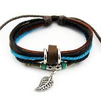 Wholesale Newest Designs Handmade Bracelets - A0002 Newest Design Fashion Handmade Genuine Leather Charm Bracelets 120pcs lot many styles for choice accept mix orders