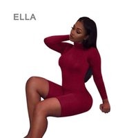 Wholesale Sport One Piece Romper - Women One Piece Jumpsuit 2016 Hot Turtleneck Long Sleeve Skinny Sport Knee Length Jumpsuits Sexy Black White Red Bodycon Romper