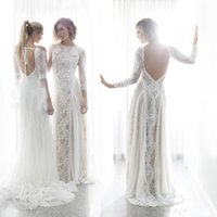 Wholesale Simple Flower Sash - Romantic Bohemian Lace Wedding Dresses Long Sleeves Backless Beach Bridal Dresses Chiffon Sweep Train Cheap Wedding Gowns