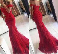 pleine dentelle rouge perlée achat en gros de-2017 épaule off veatidos New Red Lace Mermaid robes de bal perlée appliques Tulle Cadrage en pied longues Robes de soirée africains Party Tenue de soirée