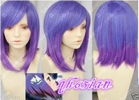 Wholesale Cosplay Purple Straight Wig - 100%Free shipping New High Quality Fashion Picture Indian Mongolian wigs>>NEW Lolita purple mix short straight Cosplay Heat-Resistant wigs