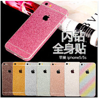 Hot Colorful Full Body Sticker Bling Skin Cover Glitter Diamond Front Sides Back Screen Protector Para iphone 6 6S plus 4S 5S SE