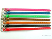 Wholesale Dog Collars 8mm - 10PCS 8*230mm DIY Name Copy leather Pet Dog Cat Collars fits 8MM Silde Charms   Letters