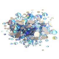 Wholesale Blue Facet Crystals - Light Blue AB ss3-ss10 Non Hotfix Crystal Rhinestones Facets Flatback Glue On Strass Diamonds Glass Chatons DIY Craft Garments Decoration