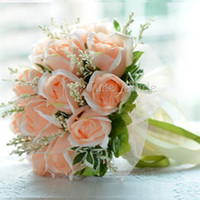 Wholesale peach wedding bouquets - High Quality Peach Rose Bridal Bouquet 18 Flowers Bridal Throw Flower Green Leaves Wedding 100% Handmade Bridesmaid Bouquet with Ribbons
