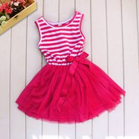 Wholesale Striped Kids Tutu - Fashion Baby Girl Tutu Dress Pink Striped Lace And Cotton Princess Vestido Clothes Kids Clothing Retail
