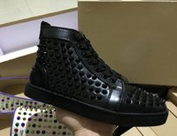 Wholesale Wedding Sneakers - Original Box Red Bottom Sneakers Luxury Party Wedding Shoes,Designer Black Genuine Leather Studded Spikes high top lovers trainers Shoes