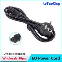 Wholesale Ac Extension - 50pcs EU AC Power Cord Extension Adapter Cable 1.2m 4FT Europe Plug For PC Desktop Monitor Computer Home Appliance Free shipping