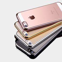 Wholesale Design Cellphone Cases - For Iphone 7 Cases Electroplat Edges TPU Clear Cellphone Case for Iphone 7Plus and Iphone 6 with Full Cover Design