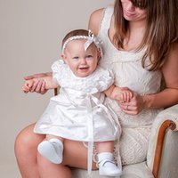 Wholesale Cheap Boys Christening Gowns - Lovely Baby Christening Dresses 2016 Knee-length Short Sleeve Taffeta with Handmade Flower Little Baby Baptism Gowns with Headband Cheap