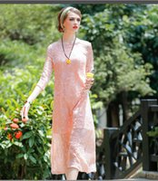 Wholesale 2016 Autumn New Fashion Solid Embroidery Orange Pink Women Long Dress Gauze Irregular Hot Top Silk O neck Holiday Lady Full Evening Dress