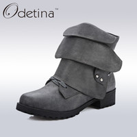 Wholesale Wedges Large Sizes - 2017 New Spring Womens Large Size Boots Designer Ankle Boots Buckle Women High Quality Lace Up Fashion Shoes Med Heel