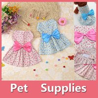 Wholesale Dog Clothes Shoes - Lovely Small Pet Dog Dress Tutu Skirt Coat Cat Puppy Cute Little Flower Clothes Apparel Clothing Blue Pink