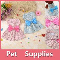 Wholesale Dog Flower Dresses - Lovely Small Pet Dog Dress Tutu Skirt Coat Cat Puppy Cute Little Flower Clothes Apparel Clothing Blue Pink