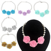 Wholesale Photo Resin Jewelry - PrettyBaby Chunky Necklace kids princess pearl Necklace Acrylic rose flower necklace set women and girl Jewelry Photo Prop 8 colors