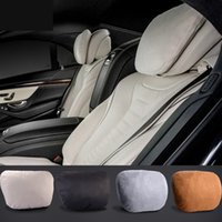 Wholesale Car Seat Cushions Brown - Universal Use Maybach Design S Class Ultra Soft Natrual Car Headrest Neck Seat Cushion Pillow Car Seat Covers For Mercedes-Benz