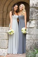 Wholesale Grey Organza Bridesmaid Dresses - Hot selling 2016 Sweetheart Ruched Bodice A-line Silver Grey Chiffon Long Bridesmaid Dresses Maid of Honor Dress
