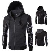 Wholesale Grey Jacket Leather Sleeve Men - New Arrivals Korean men's hooded leather jackets sleeves Korean men's Outerwear & Coats, Slim Hoodies black dark Grey J07