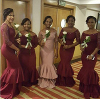 Wholesale Gown Designs For Bridesmaids - 2016 New Design Bridesmaid Dresses Long Sleeves Portrait Mermaid Evening Gowns For Wedding Maid Of Honor Dresses Africa Wear Plus Size