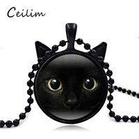 Wholesale Cat Face Necklace - Retro 3D Black Cat Face Long Necklace Pendant Cat Ear Glass Charm Gift For Women Or Men Jewelry Fit Sweater 2017 Fashion