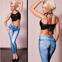 Wholesale Cheap Trousers For Women - Fashion pants for women Printed Leggings Jeans Cheap Denim Spandex Graffiti Fitness Leggings for Women sexy Fitness Pants trousers Leggings