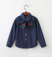 Wholesale Denim Girl Shirts - 2017 Autumn New fashion Girls Shirts Necktie bows rose embroidery denim Long Sleeve Blouse Children Clothing