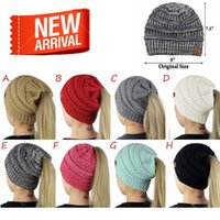 Wholesale Ladies Winter Hats Wholesale - Lady winter knitting CC Beanies girl ponytail hat woman winter warm knitting crochet hat